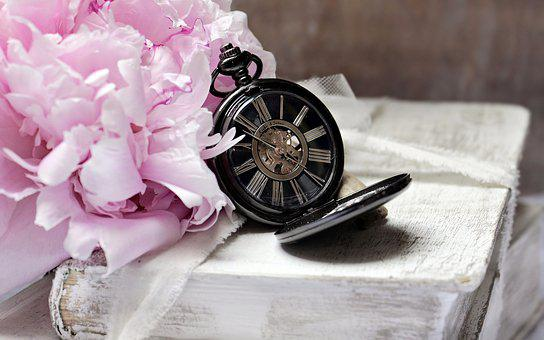 Books, Pocket Watch, Peony, Worn, Old