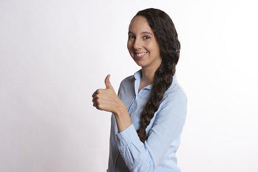 Woman, Thumbs Up, Smiling, Female