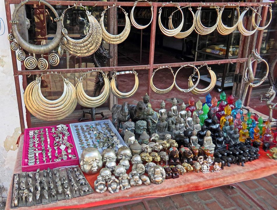 老撾, 市場, 珠寶首飾, 小飾品, 記憶, 旅遊, 手鐲, 項鍊, 工藝品, 顯示