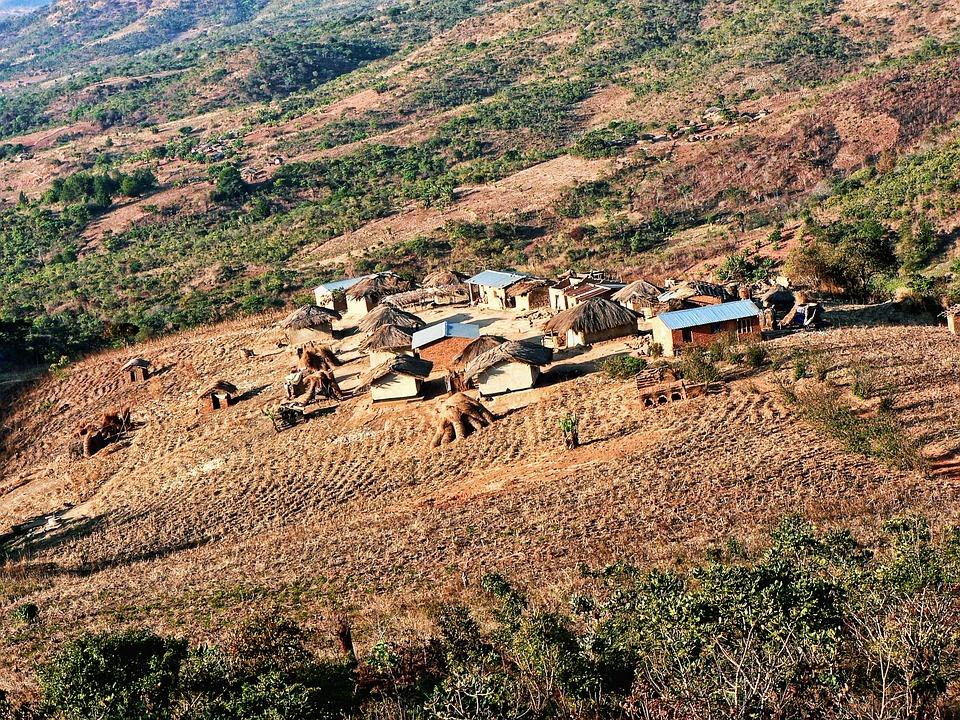 Malawi, Village, Rural, Afrique, Maison, Cabane, Terre