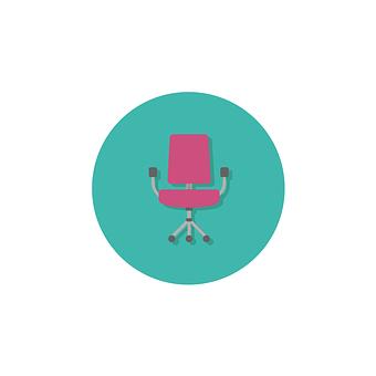 Desk, Chair, Icon, Design, Furniture