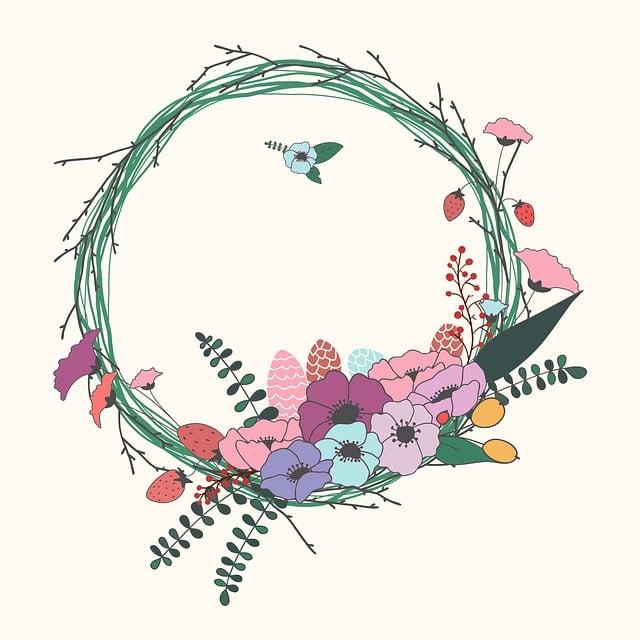 free illustration flowers wreath floral decoration