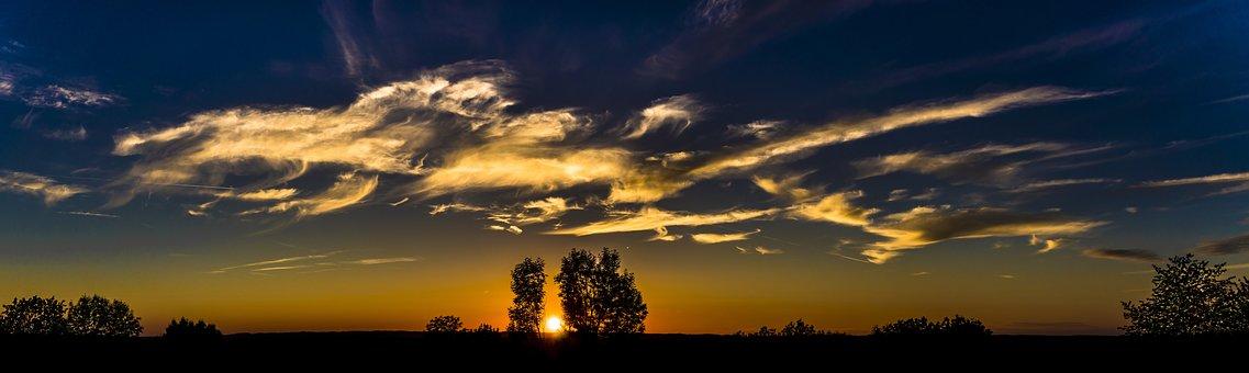 パノラマ, サンセット, 空, Abendstimmung, 雲, 夕暮れ