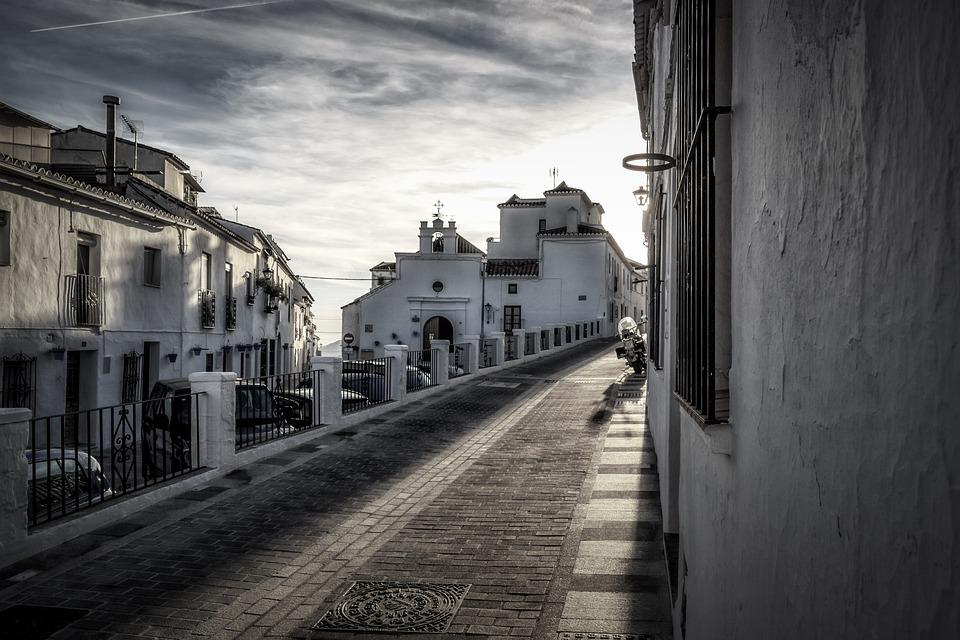 Mijas, Andalusië, Spanje, Costa, Sol, Street, Huis