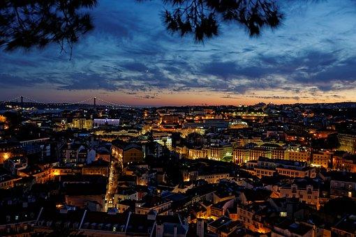 Lissabon, Portugal, Oude Stad, Nacht