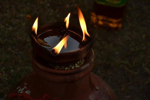 光, 炎, 火, 鍋Diya, インド, ディーパバリ, Diya, 祝賀