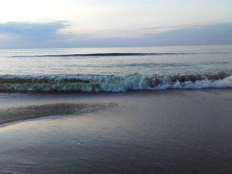 Morze, Lato, Woda, Wieczór, Bałtyk, Fale