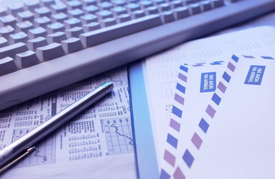 キーボード, ペン, メール, ビジネス, 成功, 文書, 紙