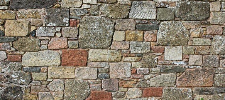 壁, 古い, バナー, ウェブヘッダー, モルタル, 石積み, レンガの壁の背景