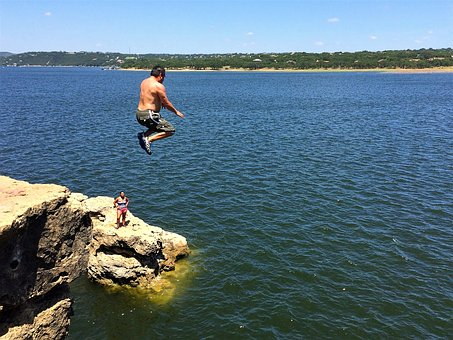 Cliff, Jump, Lake, Water, Fly, Summer