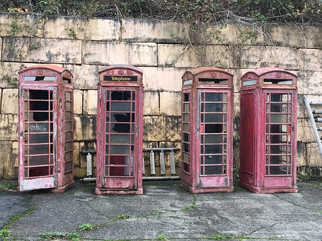 Vintage antique decay violet telephone booths as part of summary of 37 highly effective SEO tips for bloggers