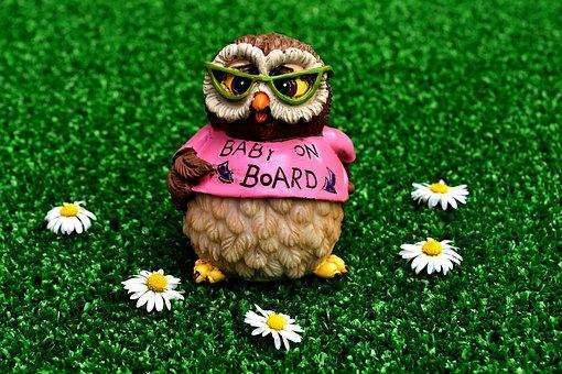 Owl, Figure, Decoration, Pregnant, Baby