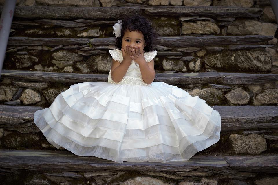 女性の名誉, ドレス, 王女, 子, 女の子, 驚き, 笑う