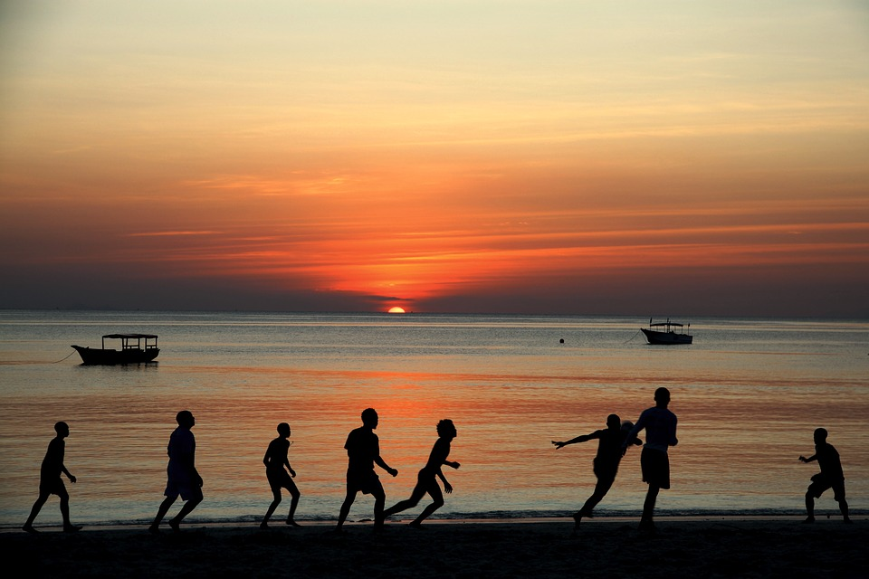 Football, Sunset, Zanzibar, Tanzania, Beach, Sea