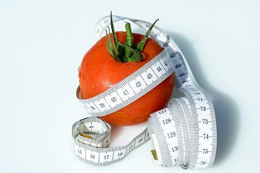 巻尺, トマト, 包まれて, コイル状のテープの測定, 健康, 削除, 食べる