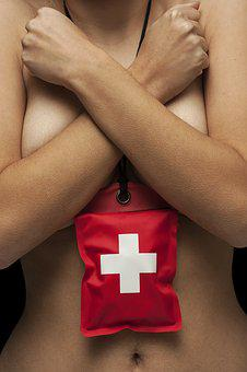 First Aid, Red, Woman, Naked, Chest