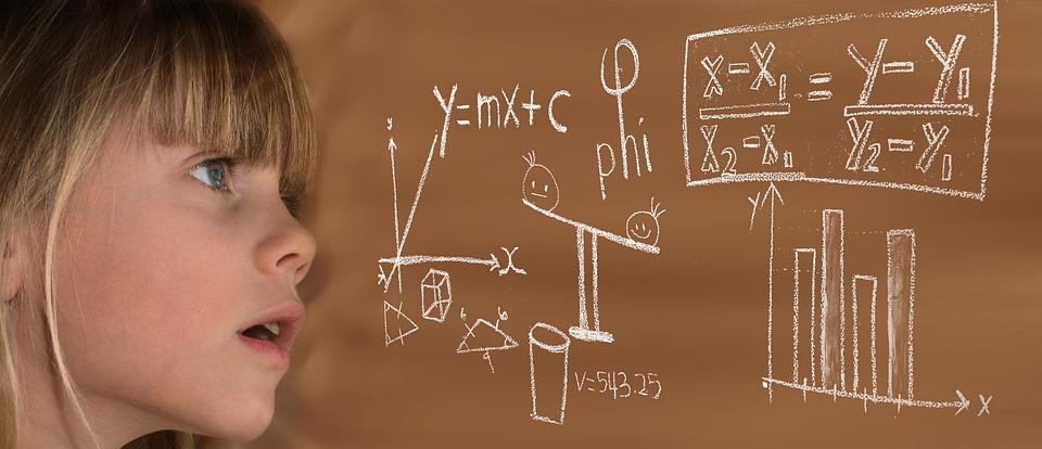 学ぶ, 数学, 子, 女の子, 数式, 物理学, 学校, 数学的です, 計算, ルート, 算術演算