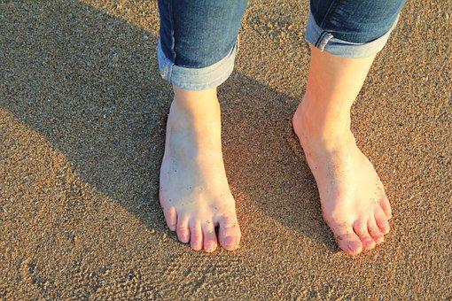 Feet, Sand, Beach, Barefoot, Woman