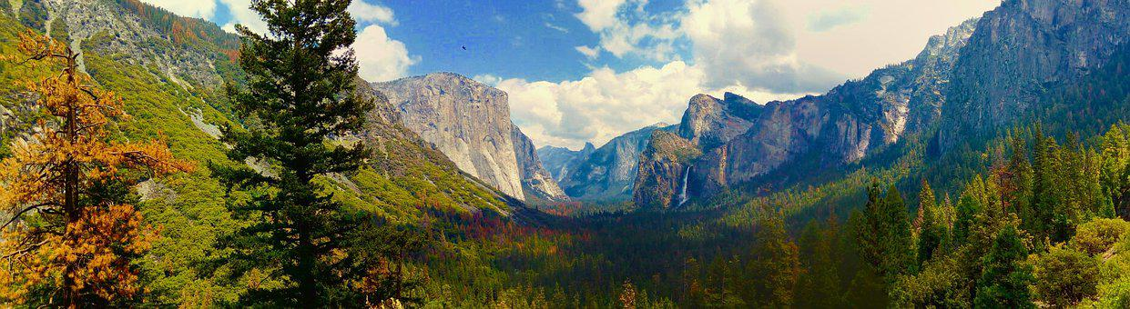 Panorama, El Capitan, Yosemite National Park, California, Usa, America