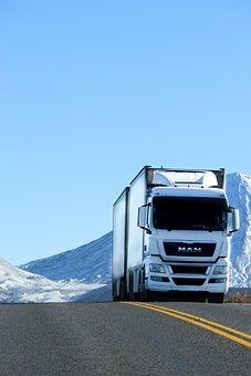 Camion, Route, Véhicule, Neige, Blanc