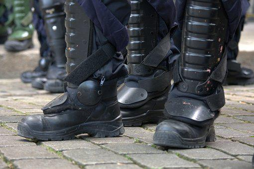 Technik, Demonstration, Polizei, Stiefel