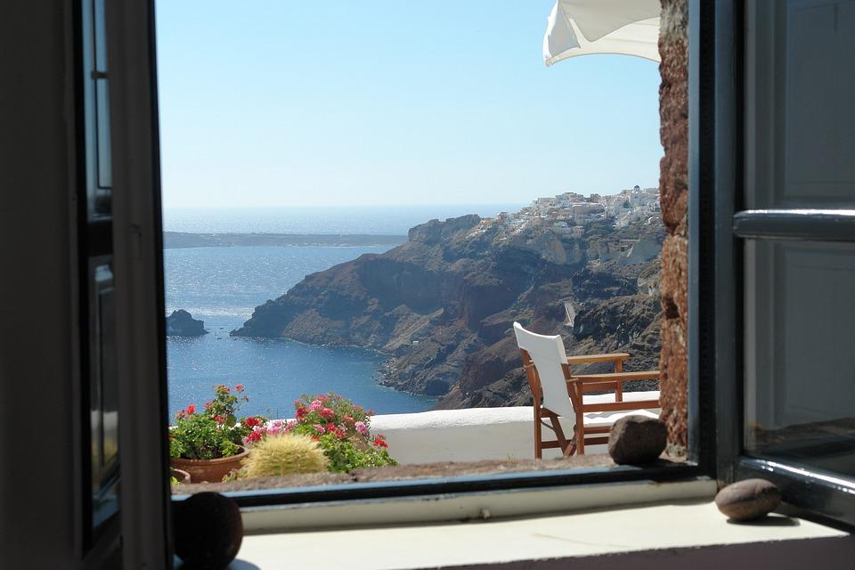 Santorini Window View Free Photo On Pixabay