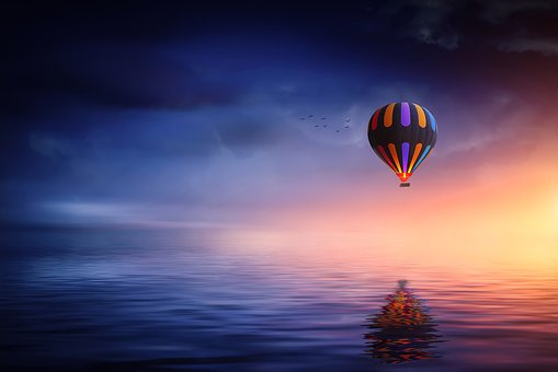 Hot Air Balloon, Lake, Balloon, Sunset