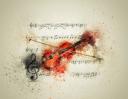 Violin, Music, Notes, Art, Abstract