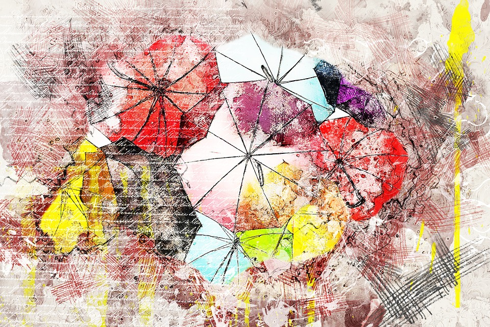 umbrella colorful art abstract watercolor collage - Colorful Art