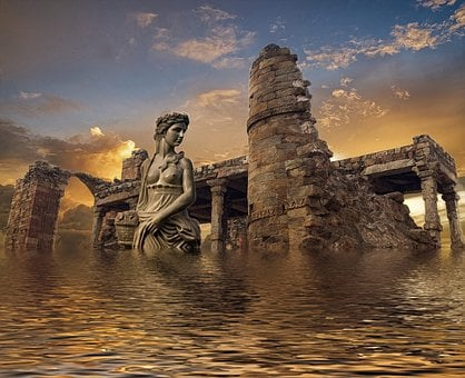 Atlantis, Sea, Ruins, Water, Underwater