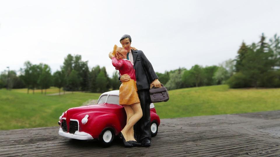 キス, カップル, 車, 男, 女性, 妻, 夫, 配偶者, ロマンチック, 関係, 幸せ, 家族, 愛, 人
