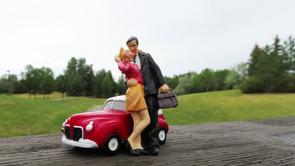 Kissing, Couple, Car, Man, Woman, Wife