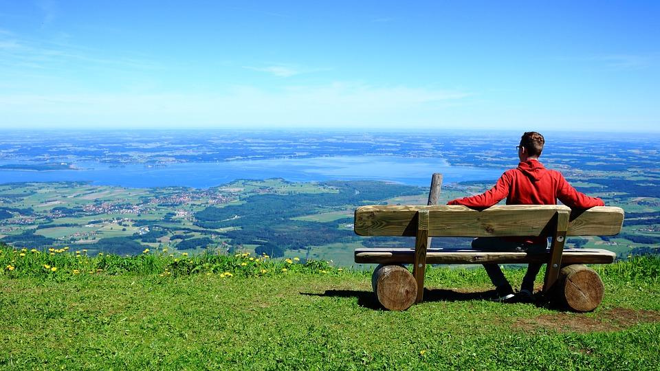 人, 見通し, 座る, リラックス, 山, 谷, 地平線, 天国, 青