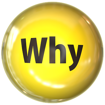 A yellow ball with the word why signifying Online value proposition 1 - Know what you want and why