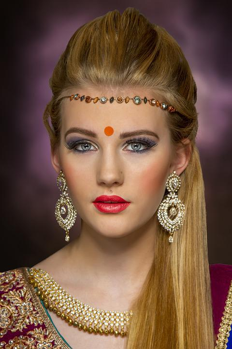 Bindi, Asia, Joyería, Belleza, Retrato, Bridal, Mujeres