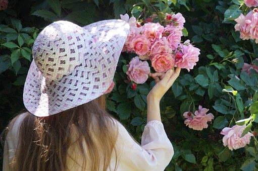 女の子, 帽子, ピンク, ローズ, バラの木, 若い, ソフト, ロマンス