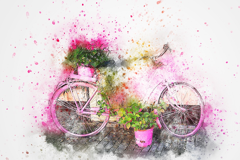 Bicycle Flowers Art Abstract