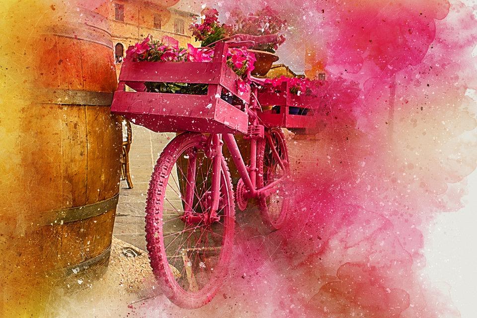 bicicleta flores arte  u00b7 imagen gratis en pixabay
