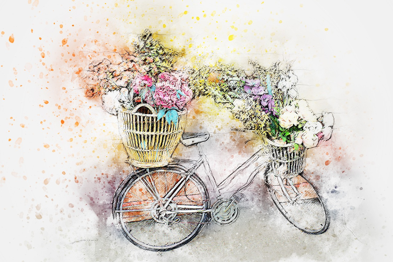 Велосипед с цветами открытка