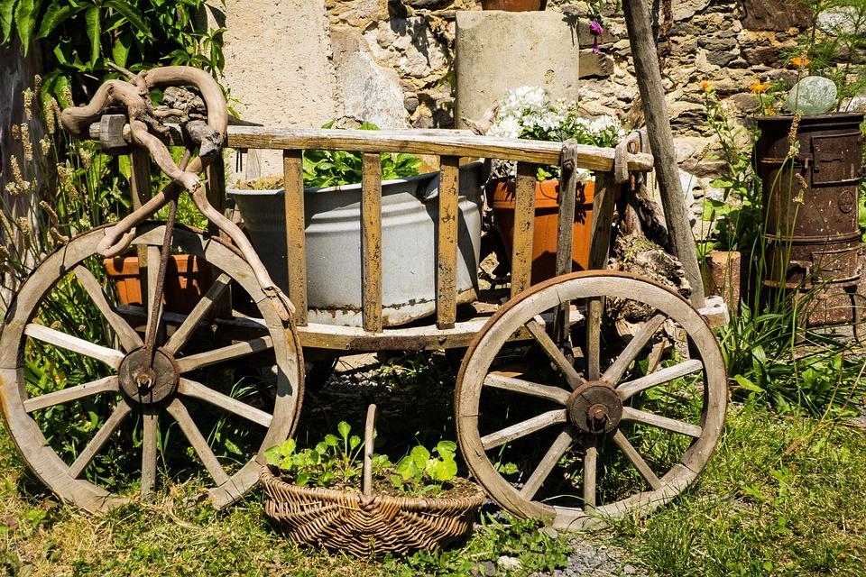 Kostenloses Foto: Handwagen, Deko, Garten, Holz - Kostenloses Bild