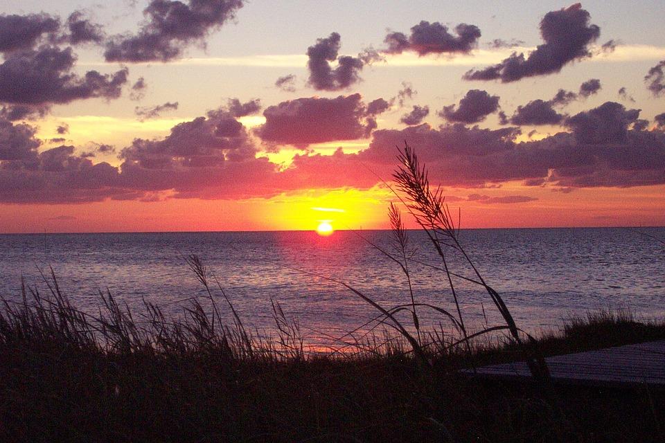 Sunset, Sound, Clouds, Landscape, Summer, Water, Nature
