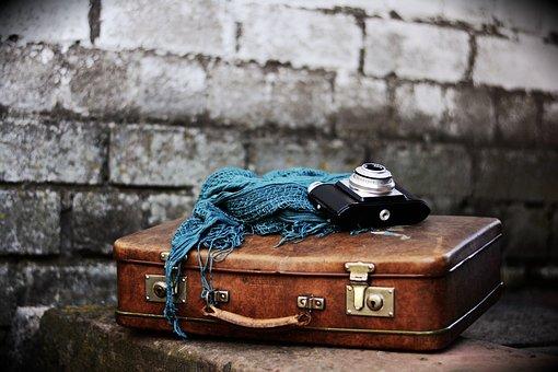 荷物, 古いスーツケース, ノスタルジア, 革のスーツケース
