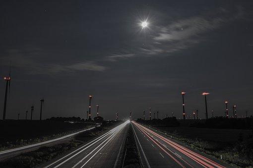 Verkehr, Nacht, Langzeitbelichtung