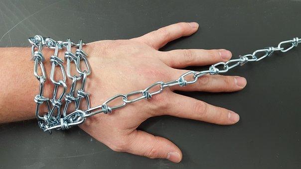 Chain, Hand, Bound, Man