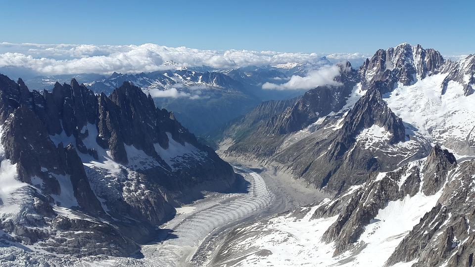 Mer De Glace, Gletser, Aiguille Verte, Glaciated