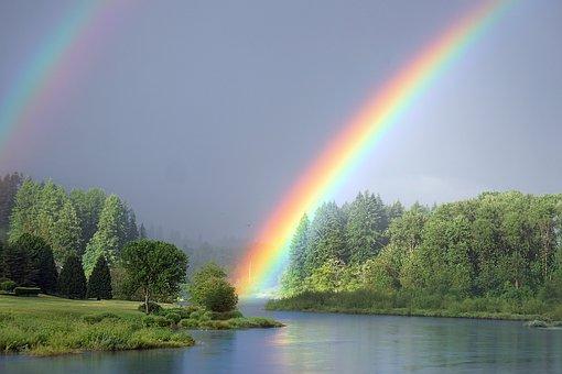 รุ้ง, แม่น้ำ, ธรรมชาติ, ภูมิทัศน์