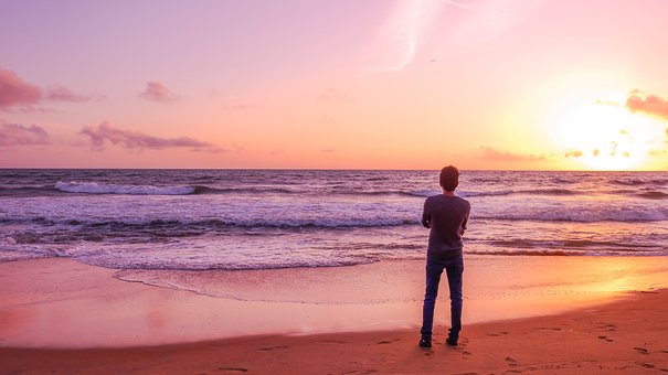 Sozinho Menino, Praia, Mar, Adolescente