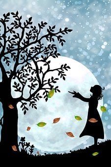 Fantasy, Mystical, Moon, Star, Girl