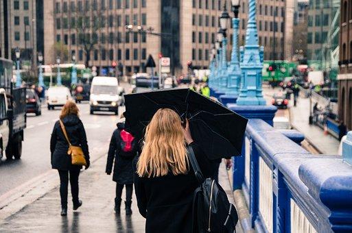 Žena, Deštník, Déšť, Ulice, Počasí, Lidé