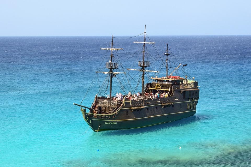キプロス, カーヴォ Greko, クルーズ船, 観光, レジャー, 海賊船, 青, ラグーン, 海
